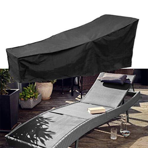 housse chaise longue jardin - Étanche housse pour transat de jardin avec matériau 210D durable, bache salon de jardin Housse de bain de soleil – (taille 208 cm L x 76 cm W x 78 cm H) … (Noir)