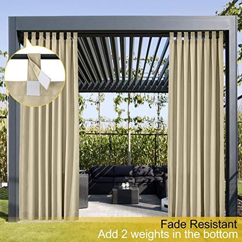 Wasserdicht Terrasse Vorhänge Khaki 213B x 244H cm, Outdoor Vorhang mit Klettverschluss Tab Top für Veranda, Pergola, Cabana, Covered Patio, Gazebo und Beach Home