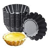 Chstarina 10 Pezzi Stampo per Crostate Uova Mini Formine per Muffin in Acciaio al Carbonio Stampi per Cupcake Riutilizzabile Pirottini per Budini Dessert Biscotto Torta