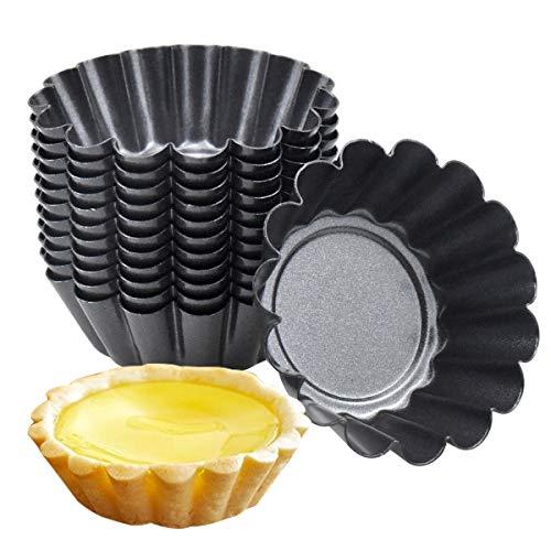 HQdeal 12 Pezzi di Stampi di Crostate di Uova, Pirottini in Acciaio al carbonio,Formine per Muffin, Stampo per Torta Cupcake, Stampi per budini, Dessert, Gelato, Antiaderente e Riutilizzabile