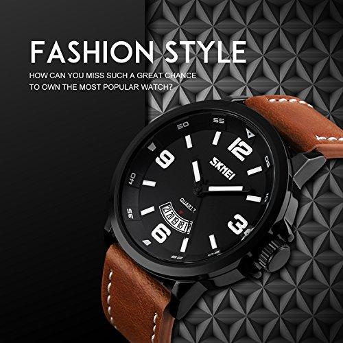 Mens Unique Analog Quartz Leather Band Dress Wrist Watch Waterproof Classic Business Casual Fashion Design Scratch Resistant Face Calendar Date Window Phase 98FT 30M 3ATM Water Resistant – Black