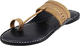 KALAPURI� Ladies Kolhapuri Chappal in Ultra Soft Genuine Leather with Black Pointed Shape Base and Traditional Punching Up...