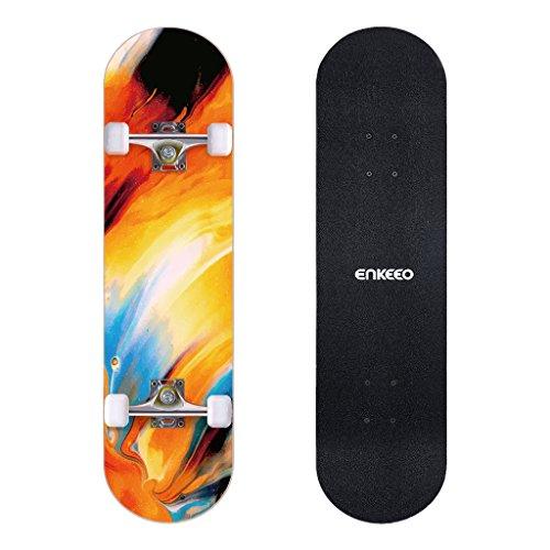 ENKEEO Skateboard Completo Double Kick Concave Skateboard 32', Peso Massimo 100kg, 4 Cuscinetti ABEC-9 Ideale per Principianti e Professionisti,Pittura a Olio