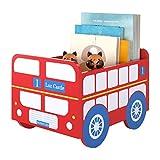 HOMECHO Caja de Almacenaje para Juquetes Organizador Pequeño para la Mesa en Forma de Autobús Escolar Color de Amarillo 34.5 x 26 x 24 cm