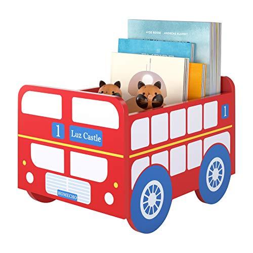 HOMECHO Aufbewahrungsbox Schulbus Kinder, Spielzeugkiste Box Holz, Fahrzeug Bus Auto VW, Geschenke für Kleinkind Jungen und Mädchen, Kinderzimmer, Kindergarten, Schule, Rot/Blau/Weiss, 34.5×24×26.5cm