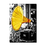 Vintage Black Yellow Music Record Wall Art Canvas Painting Nordic Posters and Prints Wall Pictures for Living Room Home Decor (Sin Marco)