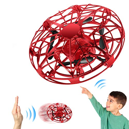 Mini Drone For Kids, Hand Operated Flying Toy With 360° Rotating and LED Light, Easy Indoor Outdoor Hand Controlled Flying Ball, USB Rechargeable Mini UFO Drone for Boys & Girls