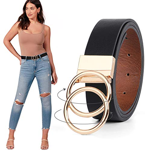 Women Leather Belt, Reversible Belt, Leather Waist Belt for Jeans Dress with Gold Double O Ring Rotate Buckle by JASGOOD, A-Black/Brown, Suit Pant Size 34-37 Inches …
