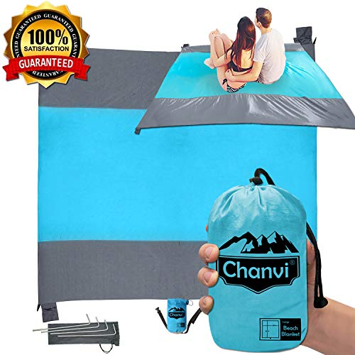 Large Beach Blanket Handy Sand Mat - Holds 7 Adults with Strap Now $14.99