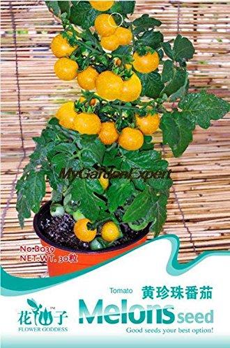 30pcs de vente Hot Yellow Graines Perle de tomate, graines de tomates cerises Mini, Graines Bonsai Tomate, Plante en pot jardin