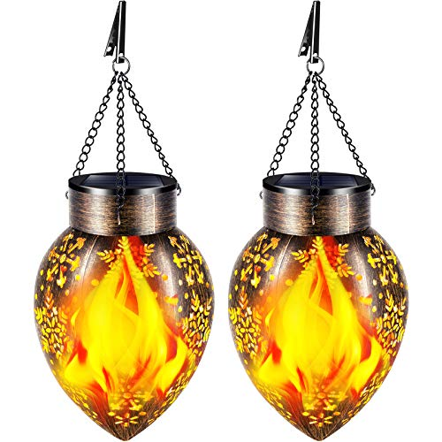 TomCare Solar Lights Outdoor Metal Flickering Flame Solar Lantern Outdoor Hanging Decorative Lanterns with Hanging Chain Solar Powered Waterproof LED Decorations for Patio Garden Deck Yard, 2 Pack