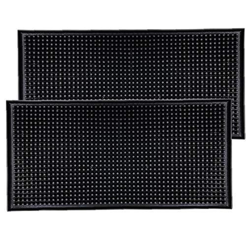 ZYCX123 Caucho Bar Mat Rectángulo Mantel Duradero Antideslizante Estera de Tabla Multifuncional Mesa de Comedor Coaster Black 2PCS Productos para el Hogar