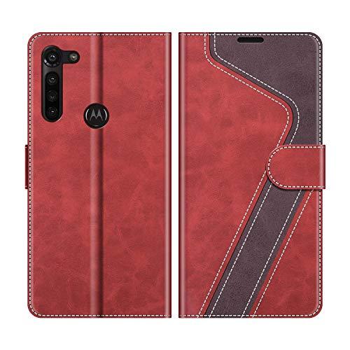 MOBESV Handyhülle für Motorola Moto G8 Power Hülle Leder, Motorola Moto G8 Power Klapphülle Handytasche Case für Motorola Moto G8 Power Handy Hüllen, Modisch Rot