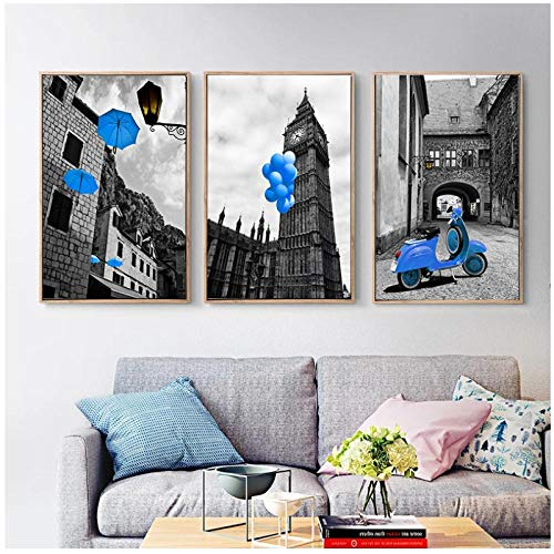 Rjunjie schilderij op canvas, landschap van de Europese stad, Nordic Wall Art Print Blue Decor Balloon Umbrella Scenery Picture for Home Decoratie, 30 x 40 cm x 3 zonder lijst