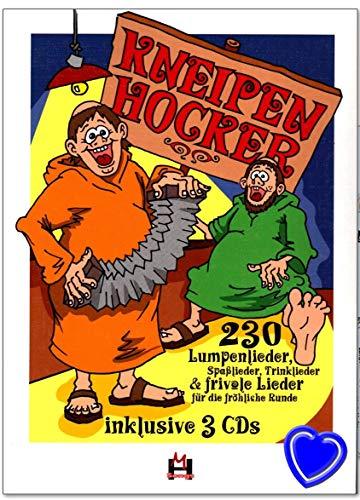 Kneipenhocker - Liederbuch mit 3 CD - Über 230 Lumpenlieder, Spaßlieder, Trinklieder, frivole Lieder - mit bunter herzförmiger Notenklammer