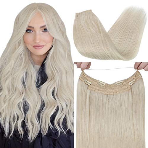 VeSunny 20inch Halo Couture Hair Extensions Blonde Color #60 White Blonde Human Hair Remy Halo Wire Hair Extensions 100G/Set