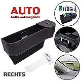 Multifunktionale Aufbewahrungsbox für Auto + 1 Stück Parkscheinhalter | Premium PU Leder Autositz...