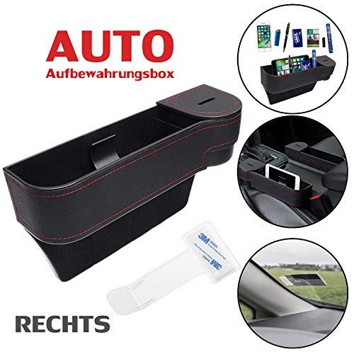 Multifunktionale Aufbewahrungsbox für Auto + 1 Stück Parkscheinhalter | Premium PU Leder Autositz Seitentaschen Organizer Mit Abnehmbarem Münzsammler | für Zusätzliche Lagerung | Schwarz (Rechts)