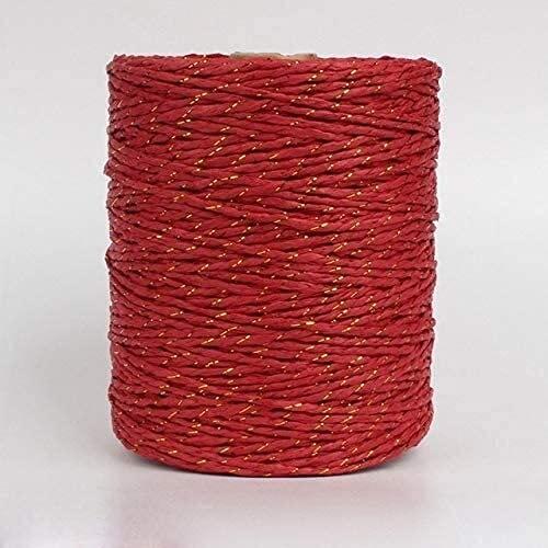 Hilo de Oro 280m Hilo de Rafia Hilo de Papel de Ganchillo de Lujo para Bricolaje Hombrero de Paja de Verano (Color : Red Gold)