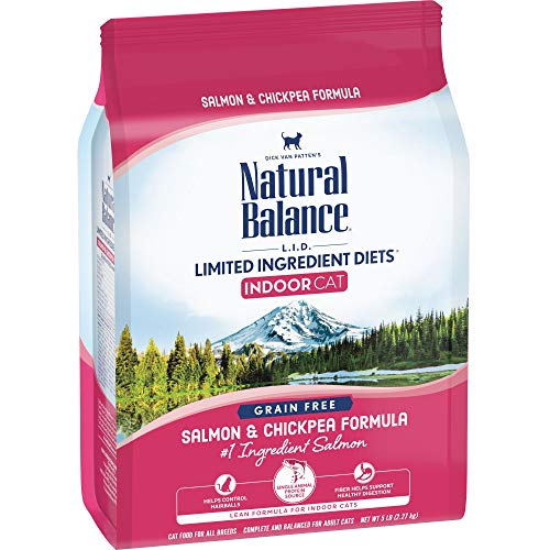 Natural Balance L.I.D. Limited Ingredient Diets Dry Cat Food for Indoor Cats, Salmon & Chickpea Formula, 5 Pounds