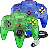 2 Packs N64 Controller, King Smart Wired N64 Controllers with Upgraded Joystick for Original Nintendo 64 Console (Sapphire Blue and Jungle Green)