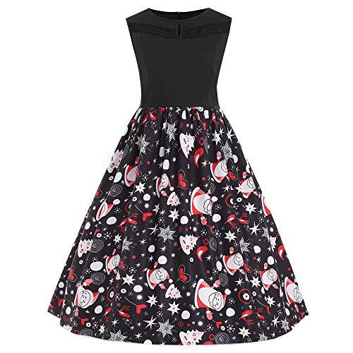 MRULIC Mädchen Kleid Ballkleid Abendkleid Minikleid Weihnachts Geschenk Ärmellos Winterrock Festliches Kleid Mehrfarbig Verfügbar Mode Neue Kleider 2018 (I-Schwarz,EU-44/CN-3XL)