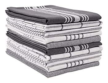 KAF Home Soho Kitchen Dish Towel Set of 10 | 18 x 28 Inch Tea Towels | Soft and Absorbent Mixed Set of Flat Towels  Charcoal