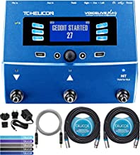 TC Helicon VoiceLive Play Vocal Effects Pedal Bundle with 12V 400mA DC Power Supply, Blucoil 2-Pack of 20-FT Balanced XLR Cables, 5-FT Audio Aux Cable, and 5-Pack of Reusable Cable Ties