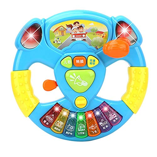 Voorschoolse muziekspeeltjes, stuurwielvorm Verhaal vertellen Muziekinstrumenten Infant Kid Ontwikkelen van educatief speelgoed (batterij niet inbegrepen)