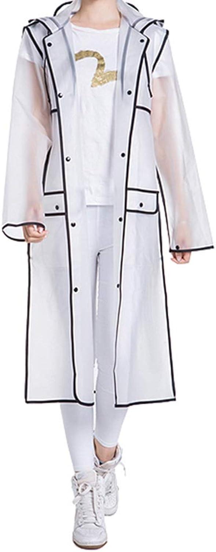 Long Raincoat  Translucent Hooded Men's and Women's Waterproof Trench Coat EVA Lightweight Poncho Fashion White Jacket