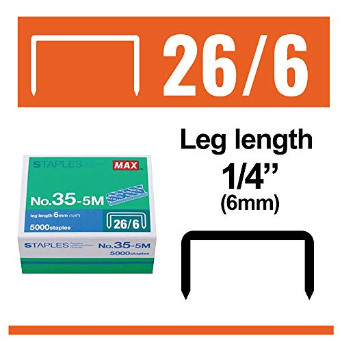 "Max 35-5M Standard Staples for USA; Leg Length 6mm (1/4""); 100 Staples per Stick, for Use with Max HD-50, HD-50R, HD-50F and other Standard Staplers, 0.25"" Leg Length, 0.5"" Crown Width, 5000 Count Photo #3"