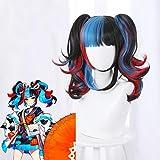 Fgo Fate/Grand Order Sei Shonagon Cosplay peluca negro azul rojo mixto rizado resistente al calor pelo sintético Pelucas de fiesta + casquillo de peluca 235 l