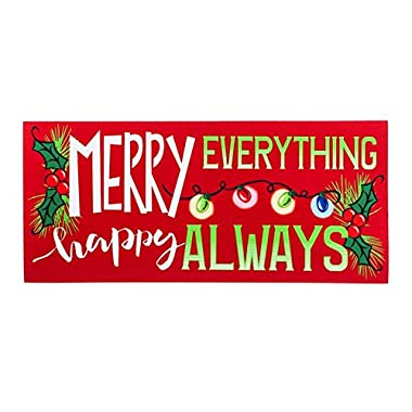 Sassafras Decorative Mat Set, Mat size: 10x22 Inches, Scroll Mat Fram Size: 18x30 Inches, Merry Everything Happy Always