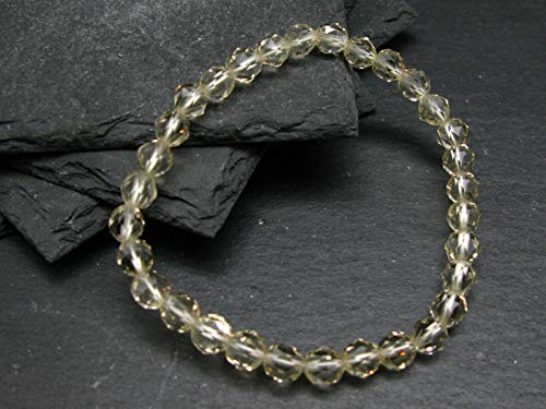 Bytownite Gold Labradorite Genuine Bracelet ~ 7 Inches ~ 6mm Round Facetted Beads