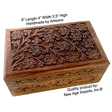 New Age Imports, Inc. GIFT IDEAS~ Floral Carved Handmade Wooden Box 4 inches by 6 inches~Ideal for storing Jewelry, Coins, Tartot cards, Small Treasures, URN Box & etc by (Floral Carved 4 x6 )