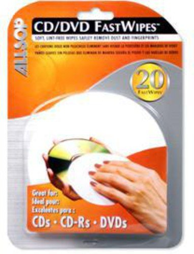 Allsop CD and DVD FastWipes, lint-free wipes...