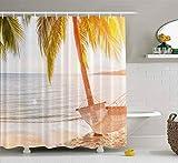 Cortina de ducha de dibujos animados, divertida cortina de ducha con ganchos, hamaca, palmera, puesta de sol, el sol, mar, océano, cielo, orilla, arena, deslumbramiento, granja, cortina de ducha, deco