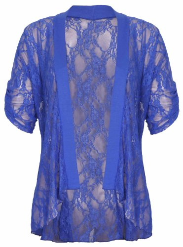 Womens Bloemen Kant Korte Turn Up Manchet Mouw Dames Waterval Front Open Vest Top Plus Size