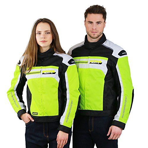 LeichteMotorradjacke mitProtektoren-X66- Roller Motorrad Jacke Herren Sommer Winter Textil Kurz MännerProtektorenjackeWasserdicht - Neon-Gelb-Grün-Weiß - L
