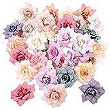 Trsnzul Rosas Artificiales 50 Piezas Cabezas De Flores Artificial Cabezas De Rosa Artificiales Flores Artificiales Flores De Tela Flores para Manualidades Boda Fiesta Casa Deco