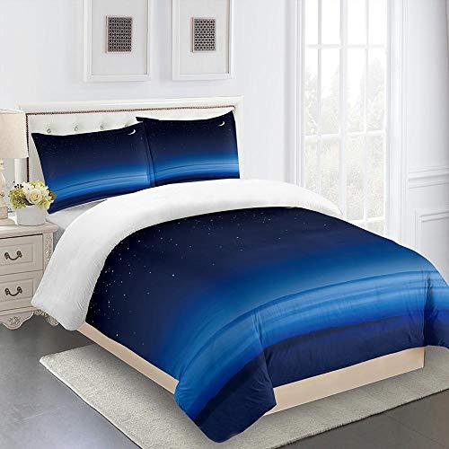 Colchas Cama 135 Cielo Estrellado Azul Fundas Nordicas Suaves Lujosa Juego de Ropa de Cama Reversible ,3 Piezas, 1 Modernas Funda Nordica 135x200cm con Cremallera y 2 Funda Almohada 50x75cm