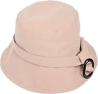 CHENDX Hat Casual Sun Hat Spring New Fisherman Hat Wide Sun Hat Uv Protection Solid Color Buckle Pot Cap (Color : Beige)