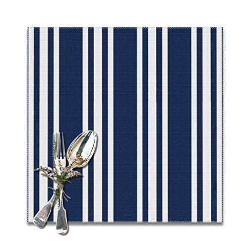jhgfd7523 Navy Blue Striped Nautical Placemats Set of 6 Washable Non Slip Table Place Mats Square 12' x 12' for Kitchen Dining Table Home Decoration
