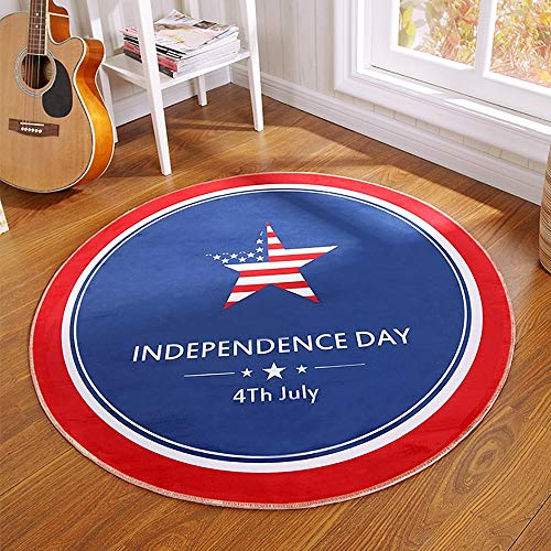 Kids Play Mat, Soft Fluffy Kids Playhome Castle Tents Play Floor Mats, Indoor And Outdoor Fun Round Cartoons Play Mat - Diameter 100 Cm 0930 (Color : Independence Day)