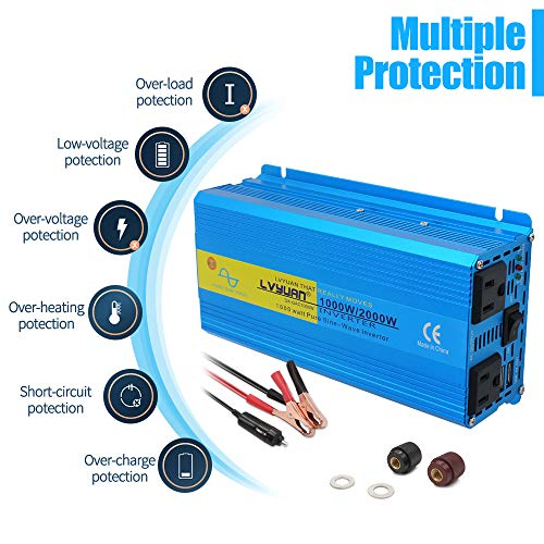 LVYUAN 1000W Pure Sine Wave Power Inverter 12V to 110V 120V DC to AC 60HZ with Dual USB Ports and Dual AC Outlets for Car/RV Home Solar System