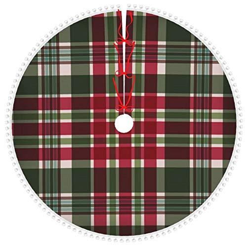 ZVEZVI Christmas Tree Skirt with Pom Pom Trim,Red Green Plaid Festive Art Holidays Tree Skirt Tree Base Cover for Xmas 30 inch