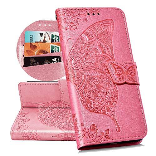 QPOLLY Cover Libro Compatibile con Motorola MOTO G7 Play, Custodia Morbido in Pelle PU Portafoglio Flip 360 Gradi Magnetica Case con Farfalla Fiori Design Porta Carte Supporto Funzione Cover,Rosa