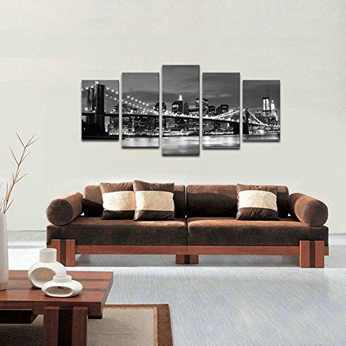 Wieco Art Brooklyn Bridge Night View 5 Panels Modern Landscape Artwork Canvas Prints Abstract Pictures Sensation to Photo Paintings on Canvas Wall Art for Home Decorations Wall Decor