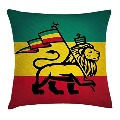 Rasta Kussen Kussensloop, Judah Leeuw een Rastafari Vlag Koning Jungle Reggae Thema Art Print, Decoratieve Vierkante Accent Kussensloop, 18 X 18 Inch, Zwart Groen Geel Rood