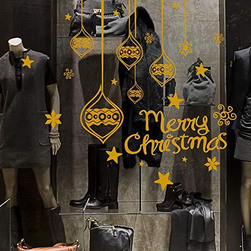 NT0192 - Pegatina de Navidad para escaparates de tiendas – Decoración adhesiva para Navidad 30 x 120 cm – Dorado